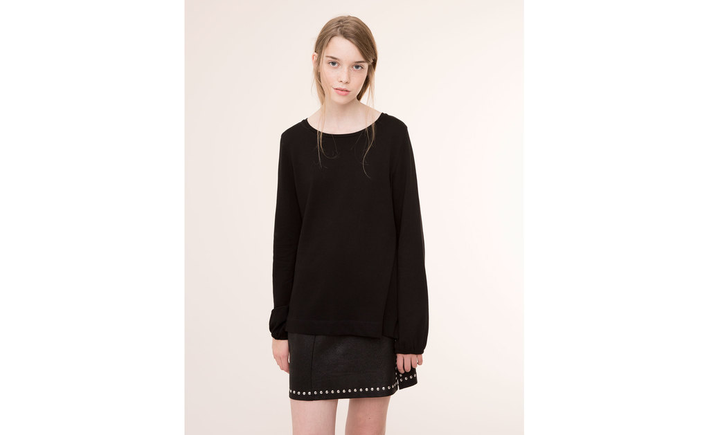 Shirt With Puff Ball Sleeves - neckline: round neck; pattern: plain; style: shirt; predominant colour: black; occasions: casual, creative work; length: standard; fit: body skimming; sleeve length: long sleeve; sleeve style: standard; pattern type: fabric; texture group: jersey - stretchy/drapey; season: a/w 2015; wardrobe: basic