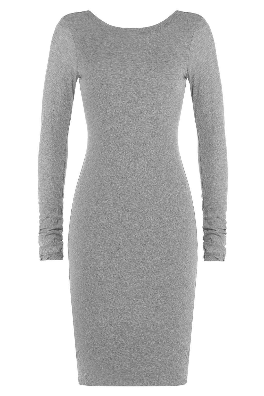 Cotton Dress - neckline: round neck; fit: tight; pattern: plain; style: bodycon; predominant colour: light grey; length: on the knee; sleeve length: long sleeve; sleeve style: standard; pattern type: fabric; texture group: jersey - stretchy/drapey; occasions: creative work; season: a/w 2015; wardrobe: investment