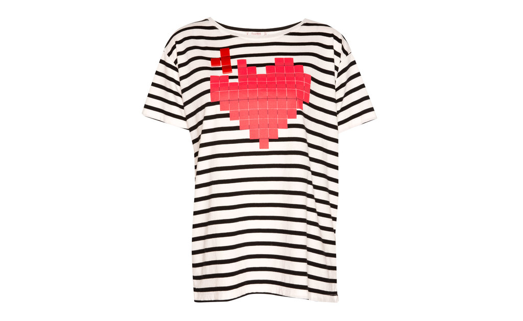 Heart Print T Shirt With Beads - pattern: horizontal stripes; style: t-shirt; secondary colour: true red; predominant colour: navy; occasions: casual, holiday; length: standard; fibres: cotton - 100%; fit: body skimming; neckline: crew; sleeve length: short sleeve; sleeve style: standard; pattern type: fabric; pattern size: standard; texture group: jersey - stretchy/drapey; embellishment: applique; season: a/w 2015; wardrobe: highlight; embellishment location: bust