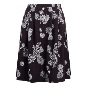 Digital Neoprene Skater Skirt - style: full/prom skirt; fit: loose/voluminous; waist: mid/regular rise; secondary colour: white; predominant colour: black; length: on the knee; occasions: occasion; pattern type: fabric; pattern: patterned/print; texture group: other - light to midweight; pattern size: standard (bottom); season: a/w 2015; wardrobe: event