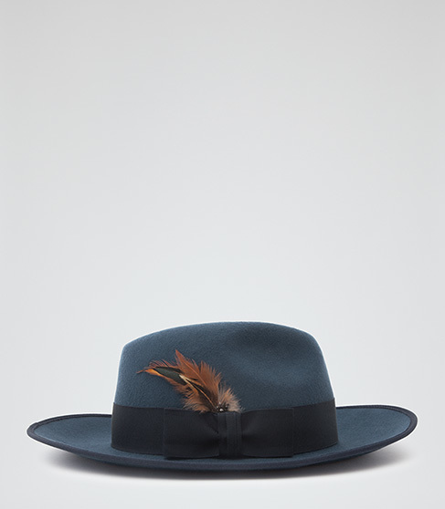 Salma Christys Fedora - predominant colour: royal blue; occasions: casual; embellishment: feathers; style: fedora; size: standard; material: fabric; pattern: plain; season: a/w 2015; wardrobe: highlight