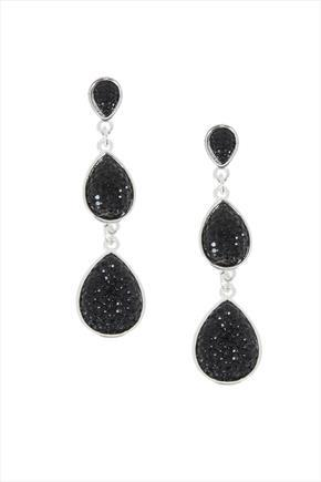 Black 3 Tear Crystal Drop Earrings - predominant colour: black; occasions: evening, occasion; style: drop; length: long; size: standard; material: chain/metal; fastening: pierced; finish: plain; embellishment: jewels/stone; season: a/w 2015