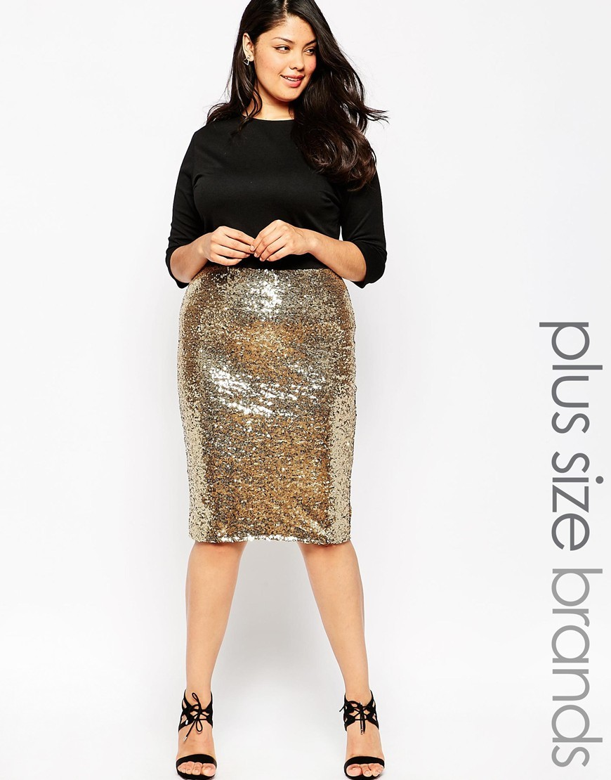 Plus Size Bodycon Dress With Sequin Skirt Black/Gold - style: shift; length: below the knee; fit: tailored/fitted; pattern: plain; secondary colour: gold; predominant colour: black; occasions: evening; fibres: polyester/polyamide - 100%; neckline: crew; hip detail: added detail/embellishment at hip; sleeve length: 3/4 length; sleeve style: standard; pattern type: fabric; texture group: other - light to midweight; embellishment: sequins; season: a/w 2015