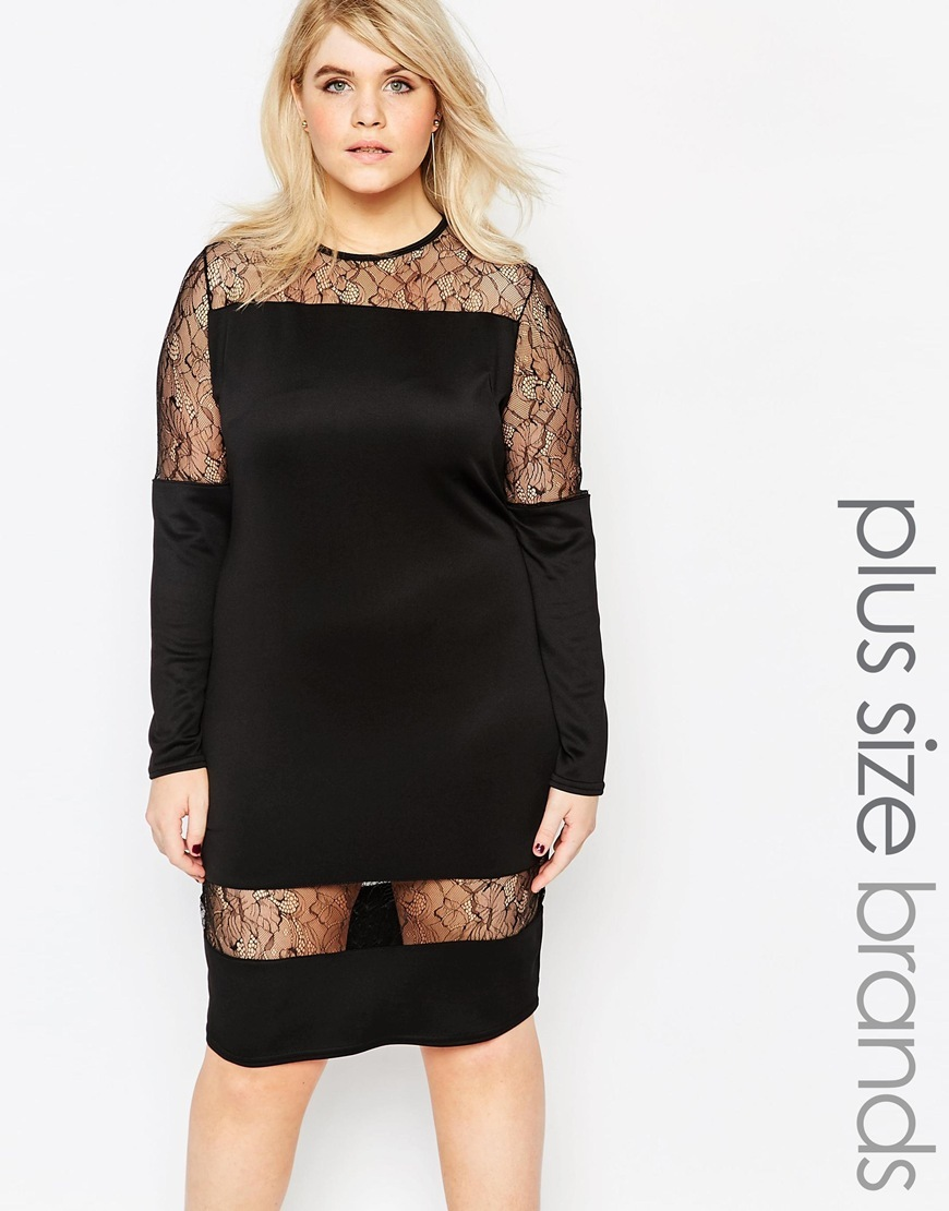 Plus Dress With Sheer Lace Inserts Black - style: shift; pattern: plain; predominant colour: black; occasions: evening; length: on the knee; fit: body skimming; neckline: crew; sleeve length: long sleeve; sleeve style: standard; pattern type: fabric; texture group: other - light to midweight; season: a/w 2015; wardrobe: event; embellishment: contrast fabric; embellishment location: shoulder
