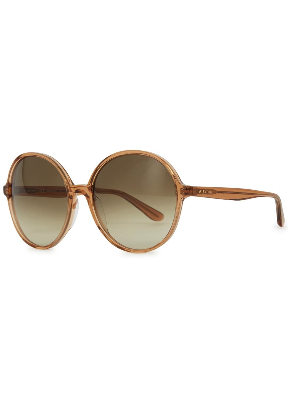 Light Brown Oversized Round Frame Sunglasses - predominant colour: stone; occasions: casual, holiday, creative work; style: round; size: large; material: plastic/rubber; pattern: plain; finish: plain; season: a/w 2015; wardrobe: basic