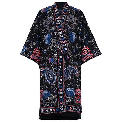 Micheala Embroidered Kimono, Black/Multi - collar: round collar/collarless; fit: loose; pattern: paisley; secondary colour: royal blue; predominant colour: black; occasions: casual, holiday; fibres: polyester/polyamide - 100%; length: mid thigh; sleeve length: 3/4 length; collar break: medium; pattern type: fabric; pattern size: standard; texture group: other - light to midweight; style: fluid/kimono; sleeve style: cape/poncho sleeve; multicoloured: multicoloured; season: a/w 2015; wardrobe: highlight