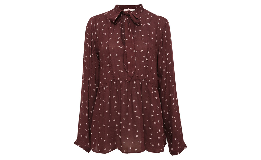 Shirt With Bow - neckline: shirt collar/peter pan/zip with opening; pattern: plain; length: below the bottom; style: shirt; predominant colour: burgundy; occasions: casual, creative work; fibres: polyester/polyamide - 100%; fit: body skimming; sleeve length: long sleeve; sleeve style: standard; texture group: sheer fabrics/chiffon/organza etc.; pattern type: fabric; pattern size: big & busy (top); season: a/w 2015; wardrobe: highlight