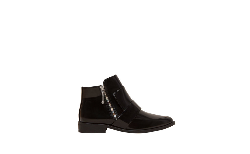 Ankle Boots With Front Flap Detail - predominant colour: black; occasions: casual, creative work; material: suede; heel height: flat; heel: block; toe: round toe; boot length: ankle boot; style: standard; finish: plain; pattern: plain; season: a/w 2015; wardrobe: basic