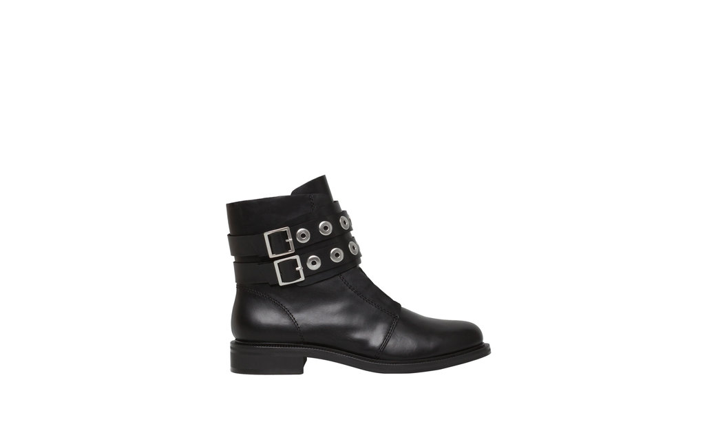Ankle Boots With AppliquÉ Detail - predominant colour: black; occasions: casual, creative work; material: leather; heel height: flat; embellishment: buckles; heel: block; toe: round toe; boot length: ankle boot; style: standard; finish: plain; pattern: plain; season: a/w 2015; wardrobe: basic