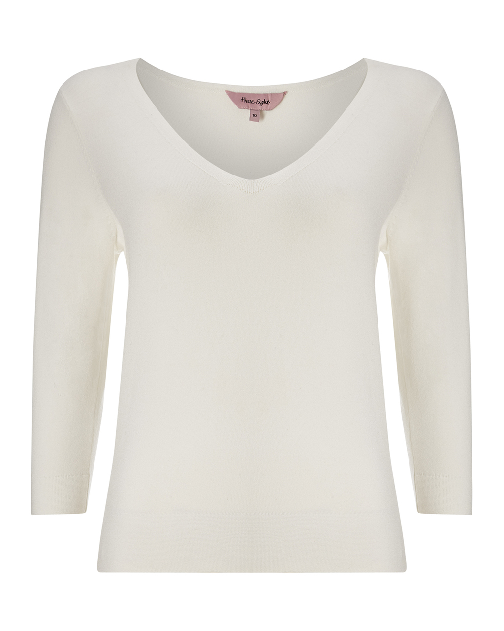 Lizette Stitch Knit - neckline: v-neck; pattern: plain; style: standard; predominant colour: ivory/cream; occasions: casual, creative work; length: standard; fibres: cotton - mix; fit: standard fit; sleeve length: 3/4 length; sleeve style: standard; texture group: knits/crochet; pattern type: knitted - fine stitch; season: a/w 2015; wardrobe: basic