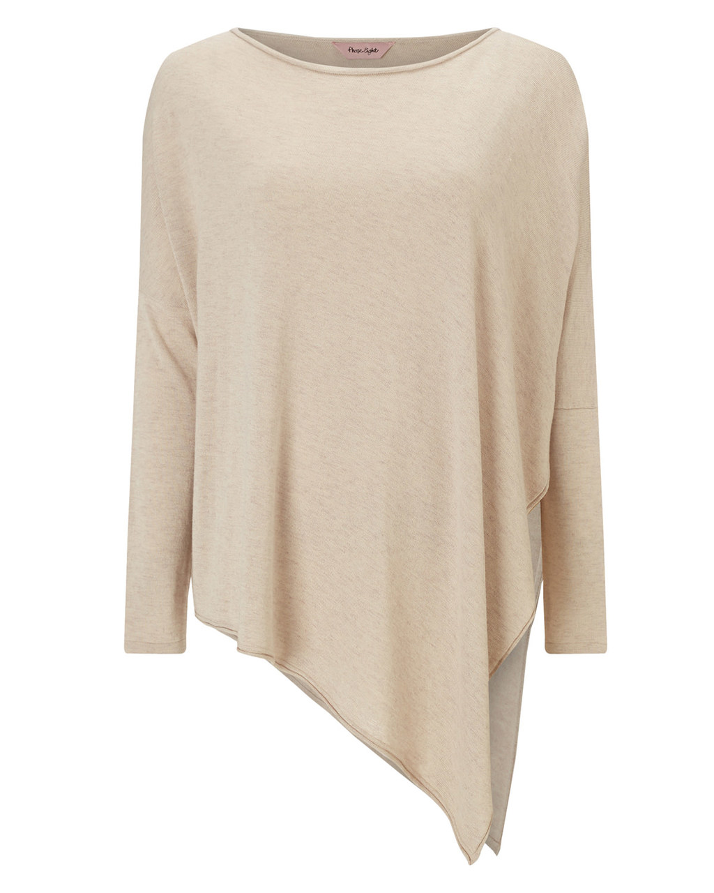 Melinda Asymmetric Knit - neckline: slash/boat neckline; sleeve style: dolman/batwing; pattern: plain; length: below the bottom; style: standard; predominant colour: nude; occasions: casual, creative work; fit: loose; sleeve length: long sleeve; texture group: knits/crochet; pattern type: knitted - fine stitch; fibres: viscose/rayon - mix; season: a/w 2015