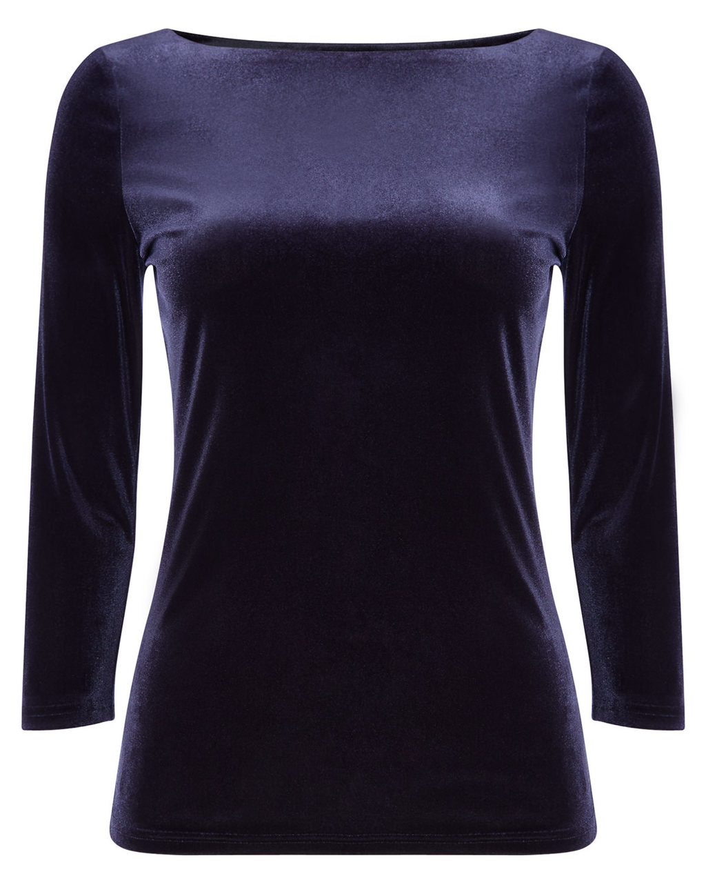 Ismay Velvet Top - neckline: slash/boat neckline; pattern: plain; predominant colour: navy; occasions: casual, evening, creative work; length: standard; style: top; fit: body skimming; sleeve length: 3/4 length; sleeve style: standard; pattern type: fabric; texture group: velvet/fabrics with pile; season: a/w 2015