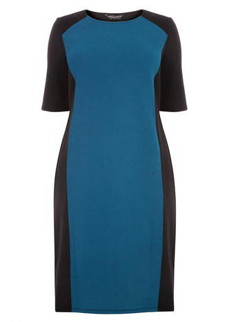 Womens **Dp Curve Teal Panel Silhouette Bodycon Dress Cobalt - style: shift; fit: tailored/fitted; predominant colour: teal; length: on the knee; fibres: polyester/polyamide - stretch; neckline: crew; sleeve length: short sleeve; sleeve style: standard; pattern type: fabric; pattern: colourblock; texture group: other - light to midweight; occasions: creative work; season: a/w 2015; wardrobe: highlight
