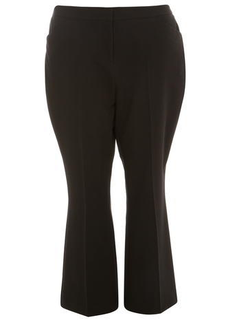 Womens **Dp Curve Black Formal Tailored Bootcut Trousers Black - length: standard; pattern: plain; waist: mid/regular rise; predominant colour: black; occasions: work, creative work; fibres: polyester/polyamide - 100%; texture group: crepes; fit: bootcut; pattern type: fabric; style: standard; season: a/w 2015