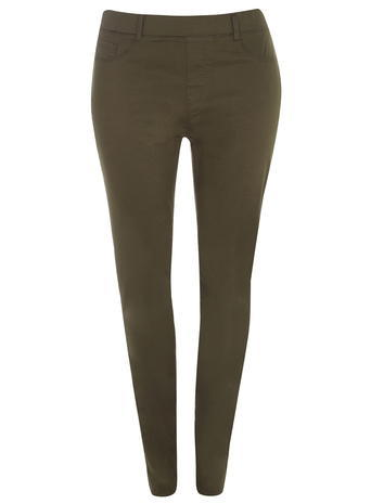 Womens **Dp Curve Khaki Jeggings Khaki - style: skinny leg; length: standard; pattern: plain; waist: mid/regular rise; predominant colour: khaki; occasions: casual; fibres: cotton - stretch; texture group: denim; pattern type: fabric; season: a/w 2015
