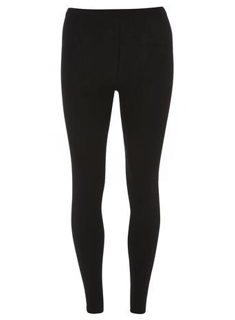 Womens Black Pull On Leggings Black - length: standard; pattern: plain; style: leggings; waist detail: elasticated waist; waist: mid/regular rise; predominant colour: black; occasions: casual; fibres: polyester/polyamide - stretch; hip detail: fitted at hip (bottoms); texture group: jersey - clingy; fit: skinny/tight leg; pattern type: fabric; season: a/w 2015
