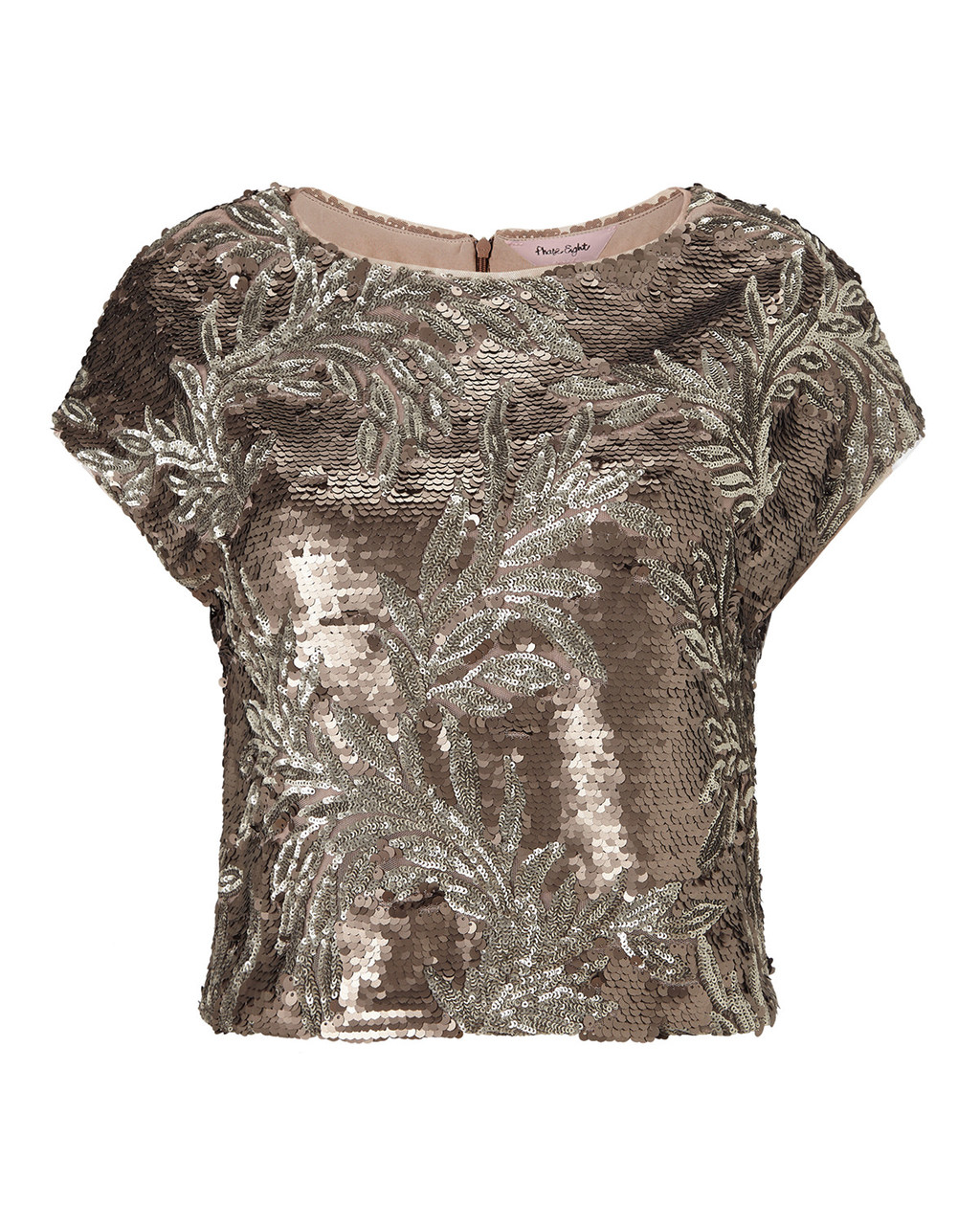 Nasia Sequin Top - neckline: round neck; length: cropped; predominant colour: silver; occasions: evening, occasion; style: top; fibres: polyester/polyamide - 100%; fit: straight cut; sleeve length: short sleeve; sleeve style: standard; texture group: ornate wovens; pattern type: fabric; pattern size: light/subtle; pattern: patterned/print; embellishment: sequins; season: a/w 2015; wardrobe: event