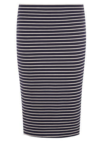 Womens Navy And White Stripe Pencil Skirt Blue - style: pencil; fit: body skimming; waist: mid/regular rise; secondary colour: white; predominant colour: navy; occasions: casual; length: on the knee; fibres: viscose/rayon - stretch; pattern type: fabric; texture group: jersey - stretchy/drapey; pattern size: standard (bottom); pattern: horizontal stripes (bottom); season: a/w 2015; wardrobe: highlight