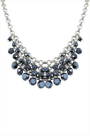 Silver & Blue Bead Statement Necklace - secondary colour: navy; predominant colour: silver; occasions: evening, occasion; length: mid; size: large/oversized; material: chain/metal; finish: metallic; embellishment: beading; style: bib/statement; season: a/w 2015; wardrobe: event