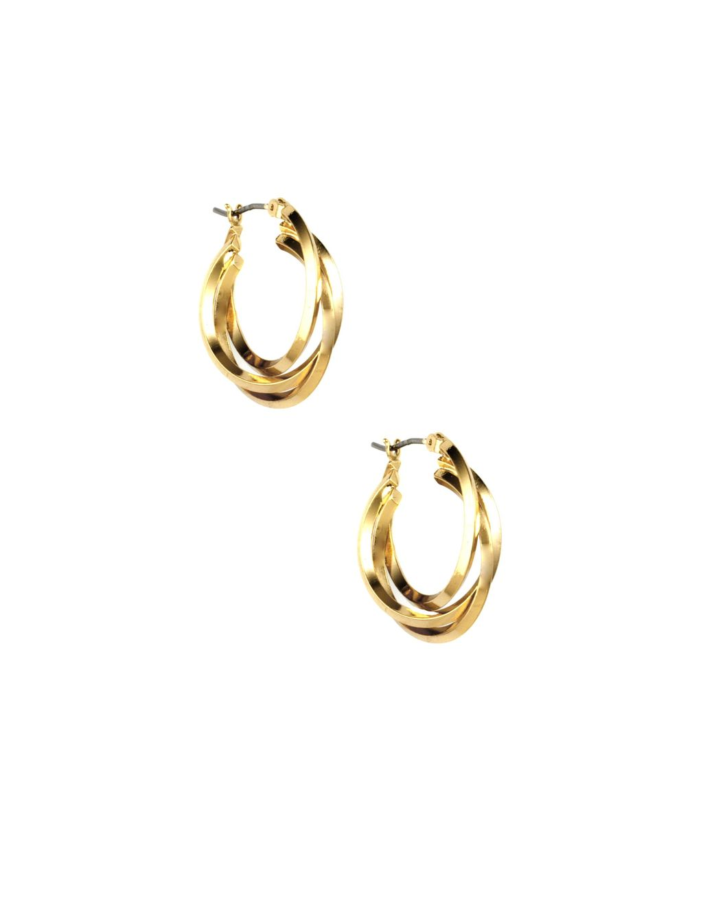 Gold Tone 3 Ring Hoop Earrings, N/A - predominant colour: gold; occasions: casual, work, creative work; style: hoop; length: mid; size: standard; material: chain/metal; fastening: pierced; finish: metallic; season: a/w 2015