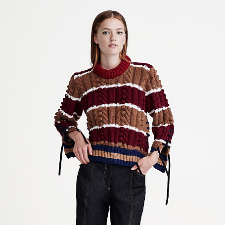 Round Neck Striped Sweater - pattern: horizontal stripes; style: standard; predominant colour: burgundy; secondary colour: tan; occasions: casual, creative work; length: standard; fibres: wool - 100%; fit: standard fit; neckline: crew; sleeve length: long sleeve; sleeve style: standard; texture group: knits/crochet; pattern type: knitted - other; pattern size: standard; multicoloured: multicoloured; season: a/w 2015; wardrobe: highlight