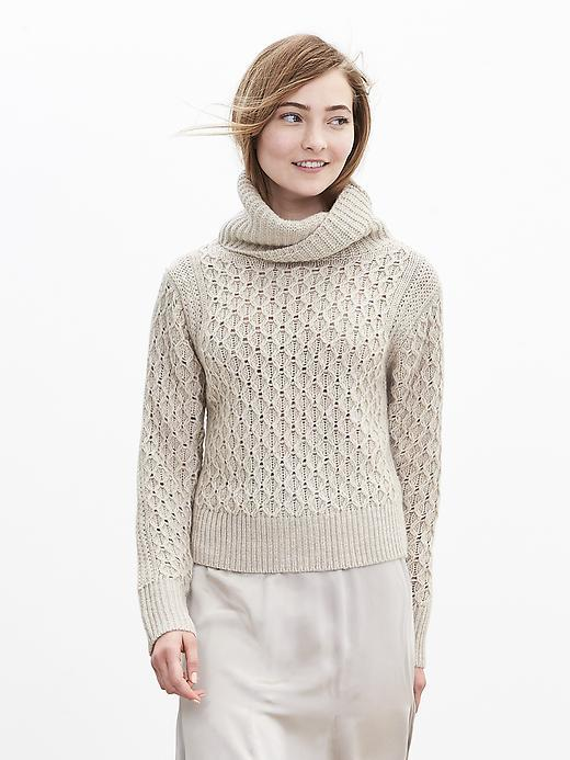 Honeycomb Turtleneck Pullover Oyster - neckline: roll neck; style: standard; pattern: cable knit; predominant colour: stone; occasions: casual, creative work; length: standard; fibres: acrylic - mix; fit: slim fit; sleeve length: long sleeve; sleeve style: standard; texture group: knits/crochet; pattern type: knitted - other; pattern size: standard; season: a/w 2015; wardrobe: highlight