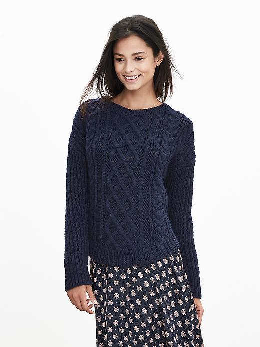 Cable Knit Boatneck Pullover Preppy Navy - neckline: round neck; style: standard; pattern: cable knit; predominant colour: navy; occasions: casual, work, creative work; length: standard; fibres: wool - mix; fit: slim fit; sleeve length: long sleeve; sleeve style: standard; texture group: knits/crochet; pattern type: knitted - fine stitch; pattern size: standard; season: a/w 2015; wardrobe: highlight
