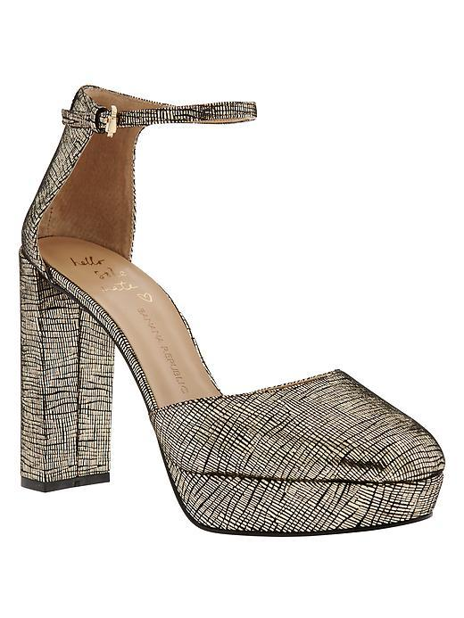 Villa Platform Pump Dark Gold - predominant colour: silver; secondary colour: gold; occasions: evening, occasion, creative work; material: leather; heel height: high; ankle detail: ankle strap; heel: block; toe: round toe; style: courts; finish: plain; pattern: plain; shoe detail: platform; season: a/w 2015; wardrobe: highlight