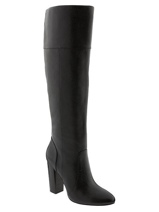 Mimi Tall Boot Black - predominant colour: black; occasions: casual, creative work; material: leather; heel: block; toe: round toe; boot length: knee; style: standard; finish: plain; pattern: plain; heel height: very high; season: a/w 2015