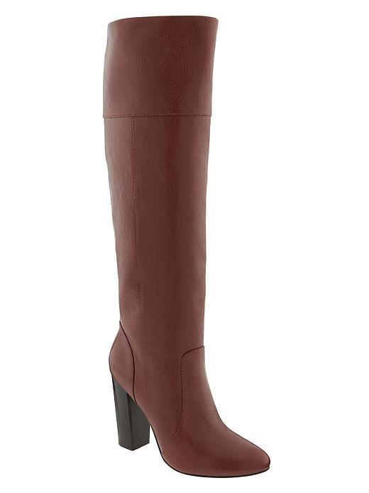 Mimi Tall Boot Dark Rum - predominant colour: tan; occasions: casual, creative work; material: leather; heel: block; toe: round toe; boot length: knee; style: standard; finish: plain; pattern: plain; heel height: very high; season: a/w 2015