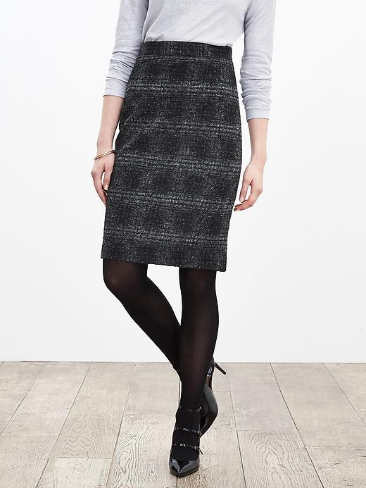 Plaid Pencil Skirt Gray/Black - pattern: checked/gingham; style: pencil; fit: tailored/fitted; waist: high rise; predominant colour: black; occasions: work, creative work; length: just above the knee; fibres: wool - mix; pattern type: fabric; texture group: woven light midweight; pattern size: big & busy (bottom); season: a/w 2015; wardrobe: highlight