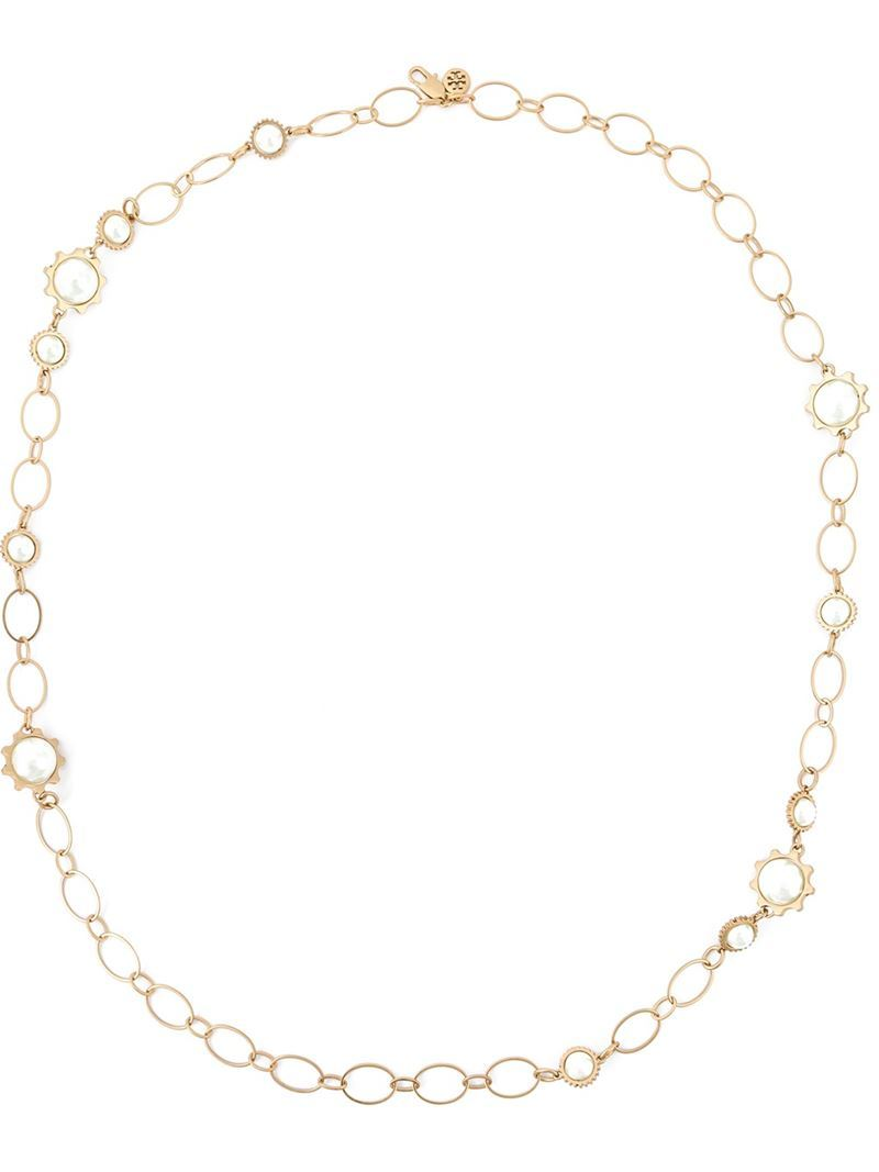 Pearl Chain Necklace, Women's, Metallic - predominant colour: gold; occasions: evening; length: short; size: standard; material: chain/metal; finish: metallic; season: a/w 2015; style: chain (no pendant); wardrobe: event