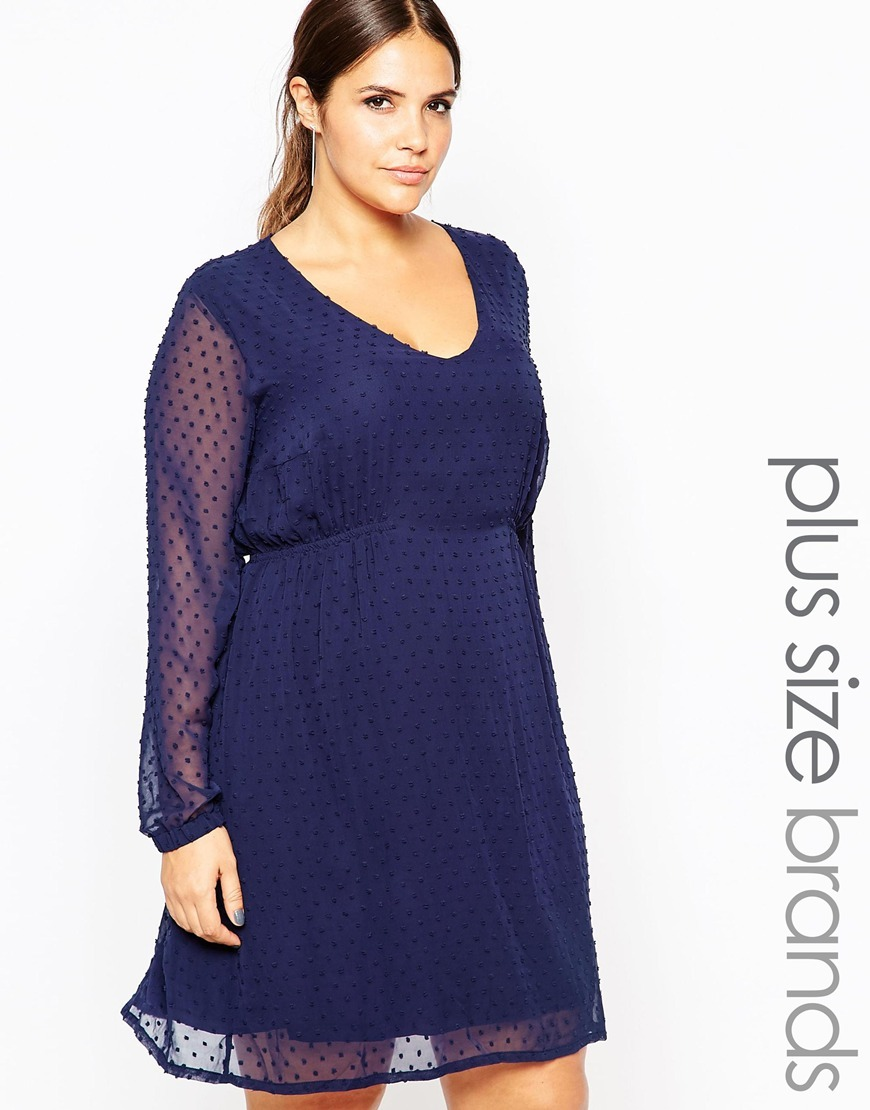 Spotty Textured Skater Dress Navy - neckline: low v-neck; pattern: polka dot; predominant colour: navy; length: just above the knee; fit: fitted at waist & bust; style: fit & flare; fibres: polyester/polyamide - 100%; occasions: occasion; sleeve length: long sleeve; sleeve style: standard; texture group: sheer fabrics/chiffon/organza etc.; pattern type: fabric; season: a/w 2015; wardrobe: event