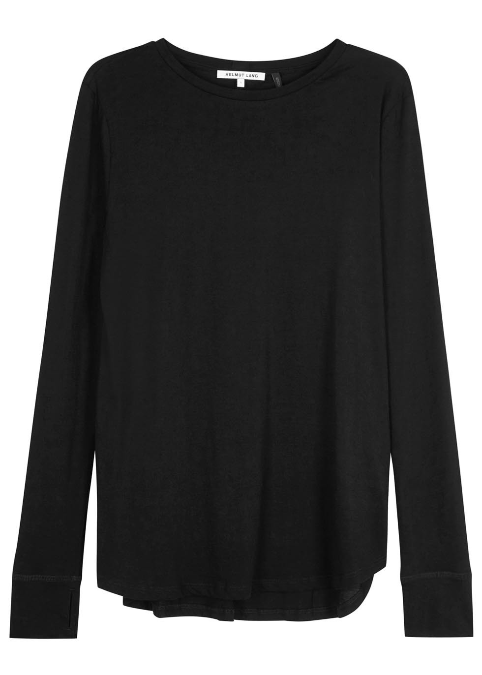 Black Cotton Blend Top - neckline: round neck; pattern: plain; predominant colour: black; occasions: casual, work, creative work; length: standard; style: top; fibres: cotton - mix; fit: loose; sleeve length: long sleeve; sleeve style: standard; pattern type: fabric; texture group: jersey - stretchy/drapey; season: a/w 2015; wardrobe: basic