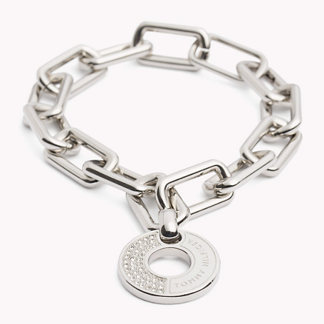 Bracelet - predominant colour: silver; occasions: evening, occasion; style: chain; size: large/oversized; material: chain/metal; finish: metallic; embellishment: crystals/glass; season: a/w 2015; wardrobe: event