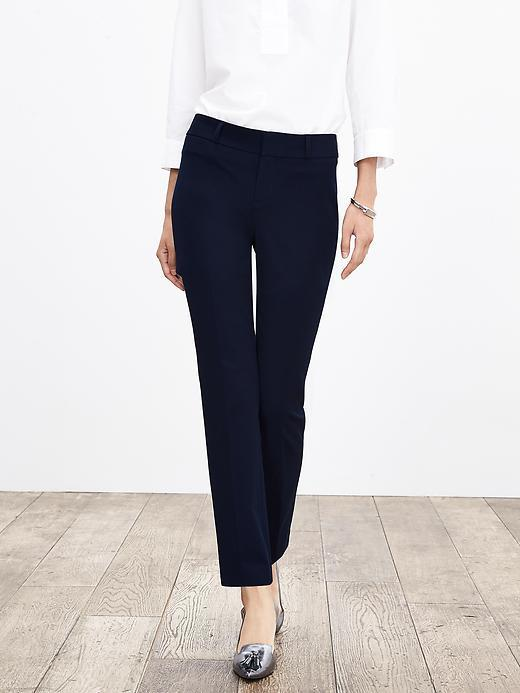 Sloan Fit Slim Ankle Pant True Navy - pattern: plain; waist: mid/regular rise; predominant colour: navy; occasions: work, creative work; length: ankle length; fibres: polyester/polyamide - 100%; texture group: crepes; fit: slim leg; pattern type: fabric; style: standard; season: a/w 2015; wardrobe: basic