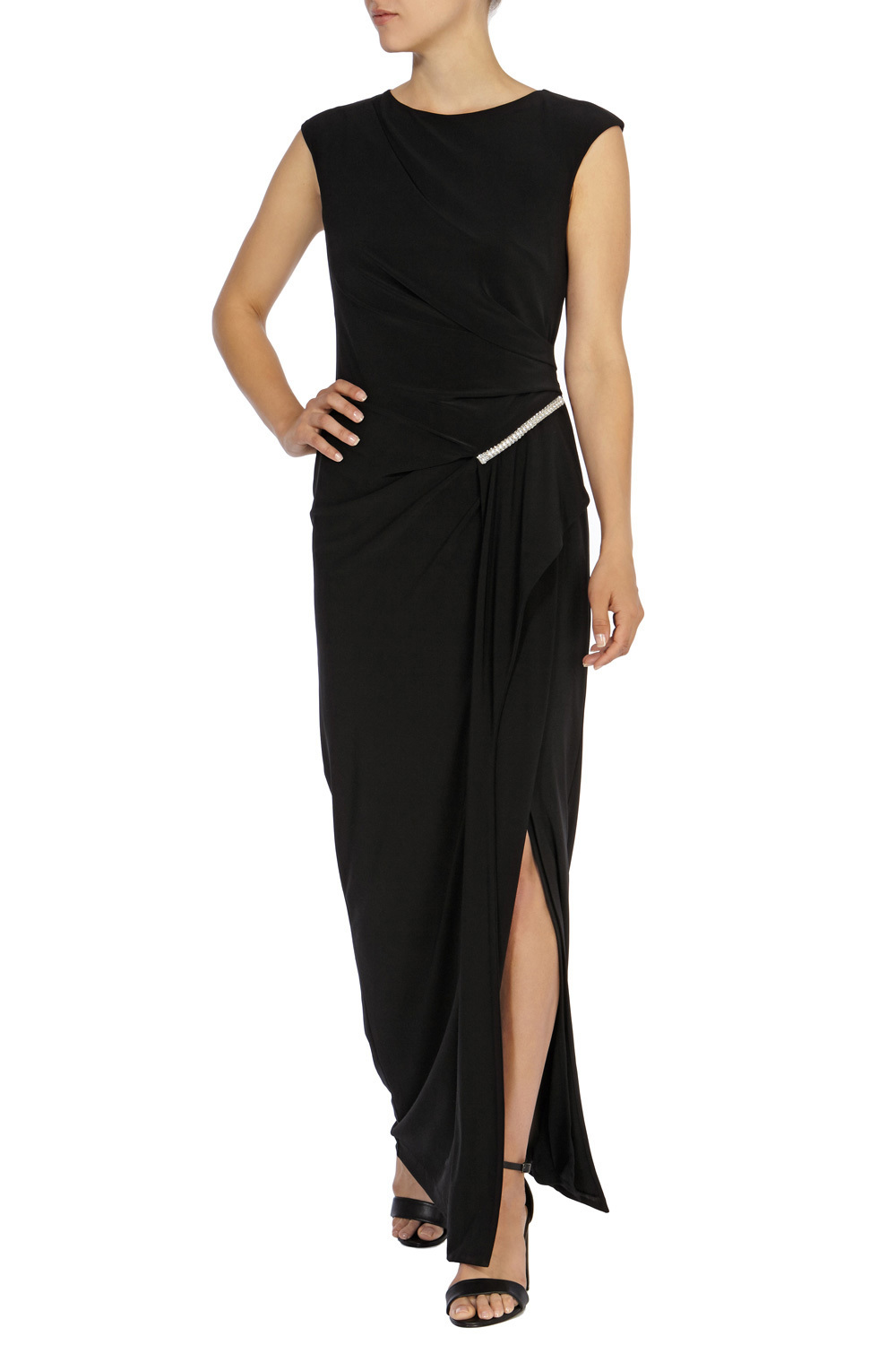 Graciella Jersey Maxi Dress Sl - sleeve style: capped; pattern: plain; style: maxi dress; length: ankle length; predominant colour: black; occasions: evening; fit: body skimming; fibres: polyester/polyamide - stretch; neckline: crew; hip detail: slits at hip; sleeve length: sleeveless; texture group: jersey - clingy; pattern type: fabric; embellishment: zips; season: a/w 2015; wardrobe: event