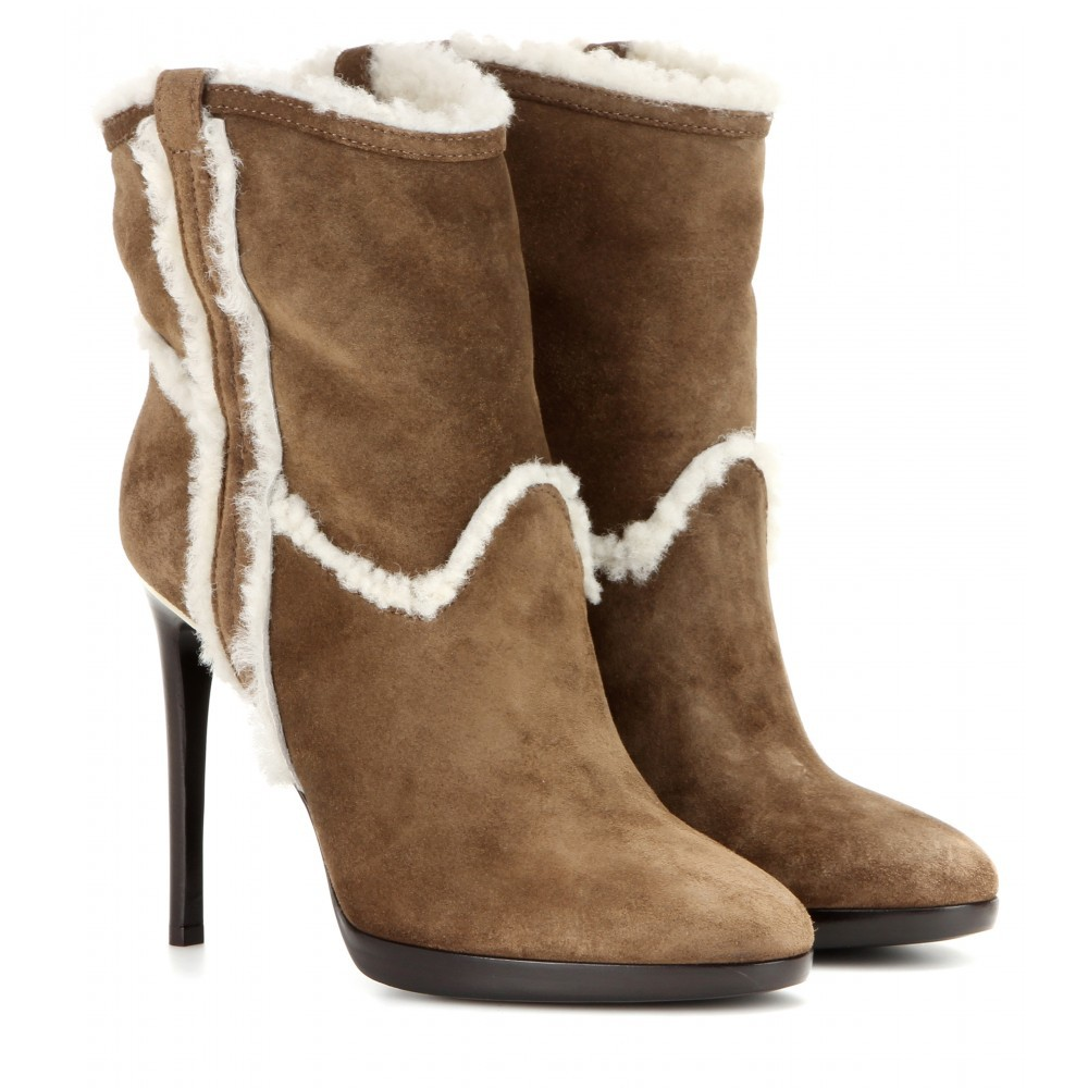 Suede And Shearling Ankle Boots - predominant colour: tan; material: suede; heel height: high; heel: stiletto; toe: round toe; boot length: ankle boot; style: standard; finish: plain; pattern: plain; occasions: creative work; shoe detail: platform; season: a/w 2015; wardrobe: highlight