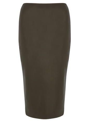 Womens Khaki High Waisted Pencil Skirt Khaki - pattern: plain; style: pencil; fit: tailored/fitted; waist: mid/regular rise; predominant colour: khaki; occasions: evening, work, creative work; length: on the knee; fibres: polyester/polyamide - 100%; pattern type: fabric; texture group: woven light midweight; season: a/w 2015; wardrobe: basic