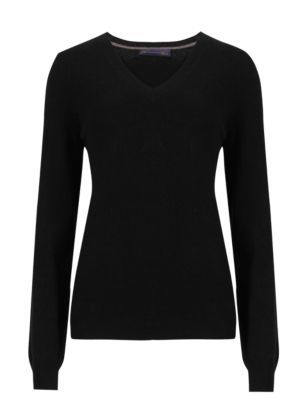 Pure Cashmere V Neck Jumper - neckline: v-neck; pattern: plain; style: standard; predominant colour: black; occasions: casual, work, creative work; length: standard; fit: standard fit; fibres: cashmere - 100%; sleeve length: long sleeve; sleeve style: standard; texture group: knits/crochet; pattern type: knitted - fine stitch; pattern size: standard; season: s/s 2015