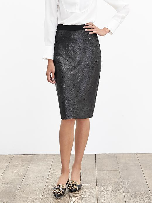 Sequin Pencil Skirt Black - pattern: plain; style: pencil; waist: high rise; predominant colour: black; occasions: evening, occasion; length: on the knee; fibres: polyester/polyamide - 100%; waist detail: narrow waistband; fit: straight cut; pattern type: fabric; texture group: other - light to midweight; embellishment: sequins; season: a/w 2015; wardrobe: event