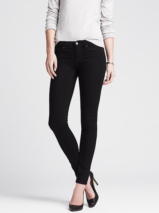 Black Skinny Jean Black - style: skinny leg; length: standard; pattern: plain; pocket detail: traditional 5 pocket; waist: mid/regular rise; predominant colour: black; occasions: casual; fibres: cotton - stretch; texture group: denim; pattern type: fabric; season: a/w 2015; wardrobe: basic