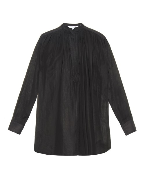 Poet Opaque Shirt - pattern: plain; length: below the bottom; style: shirt; bust detail: subtle bust detail; predominant colour: black; occasions: casual, work, creative work; neckline: collarstand; fibres: cotton - 100%; fit: loose; sleeve length: 3/4 length; sleeve style: standard; texture group: cotton feel fabrics; pattern type: fabric; season: a/w 2015; wardrobe: basic