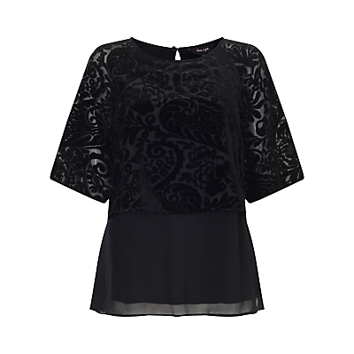 Shivani Devore Blouse, Black - pattern: plain; predominant colour: black; occasions: evening, occasion; length: standard; style: top; fit: loose; neckline: crew; sleeve length: short sleeve; sleeve style: standard; pattern type: fabric; texture group: velvet/fabrics with pile; fibres: viscose/rayon - mix; season: a/w 2015; wardrobe: event; trends: velvet