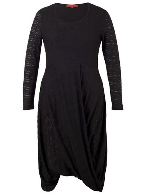 Black Mixed Fabric Jersey Dress - neckline: round neck; pattern: plain; predominant colour: black; occasions: evening; length: just above the knee; fit: fitted at waist & bust; style: fit & flare; fibres: polyester/polyamide - 100%; hip detail: soft pleats at hip/draping at hip/flared at hip; sleeve length: long sleeve; sleeve style: standard; texture group: lace; pattern type: fabric; embellishment: lace; season: a/w 2015