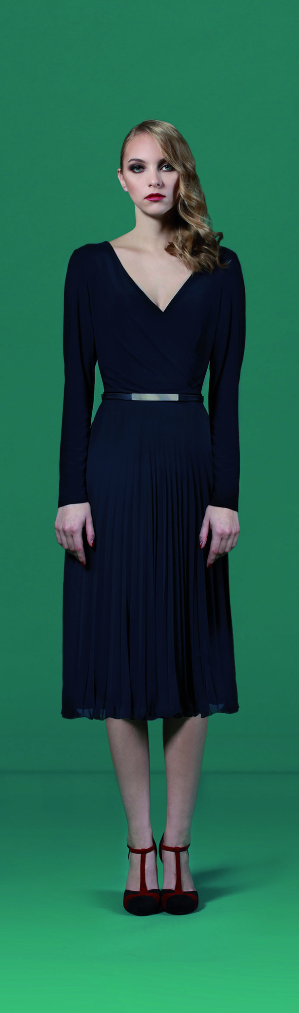 Navy Pleated Jersey Dress - style: faux wrap/wrap; length: below the knee; neckline: low v-neck; pattern: plain; waist detail: belted waist/tie at waist/drawstring; predominant colour: navy; occasions: evening; fit: body skimming; fibres: polyester/polyamide - stretch; hip detail: subtle/flattering hip detail; sleeve length: long sleeve; sleeve style: standard; pattern type: fabric; texture group: jersey - stretchy/drapey; season: a/w 2015; wardrobe: event