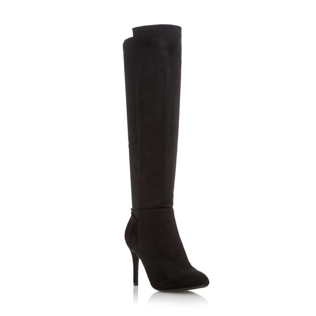 Skye Stiletto Heel Knee High Boot - predominant colour: black; occasions: casual, creative work; material: suede; heel: stiletto; toe: pointed toe; boot length: over the knee; style: standard; finish: plain; pattern: plain; heel height: very high; season: a/w 2015; wardrobe: highlight