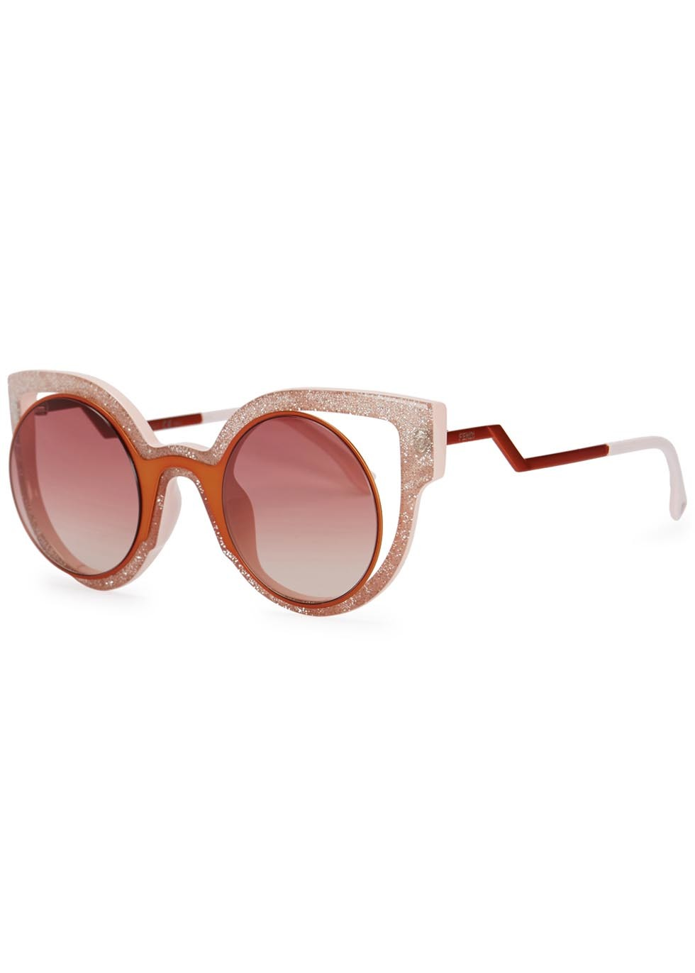 Pink Glittered Cat Eye Sunglasses - predominant colour: pink; secondary colour: tan; occasions: casual, holiday; style: cateye; size: large; material: plastic/rubber; finish: metallic; pattern: colourblock; season: a/w 2015; wardrobe: highlight