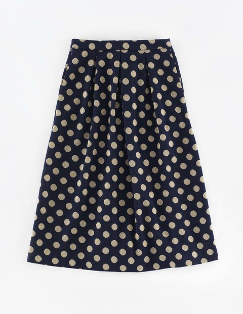 Sparkle Spot Jacquard Skirt Navy/Gold Women, Navy/Gold - style: full/prom skirt; fit: loose/voluminous; pattern: polka dot; waist: mid/regular rise; predominant colour: navy; secondary colour: stone; occasions: casual, creative work; length: just above the knee; fibres: polyester/polyamide - mix; hip detail: soft pleats at hip/draping at hip/flared at hip; pattern type: knitted - fine stitch; texture group: brocade/jacquard; pattern size: big & busy (bottom); season: a/w 2015