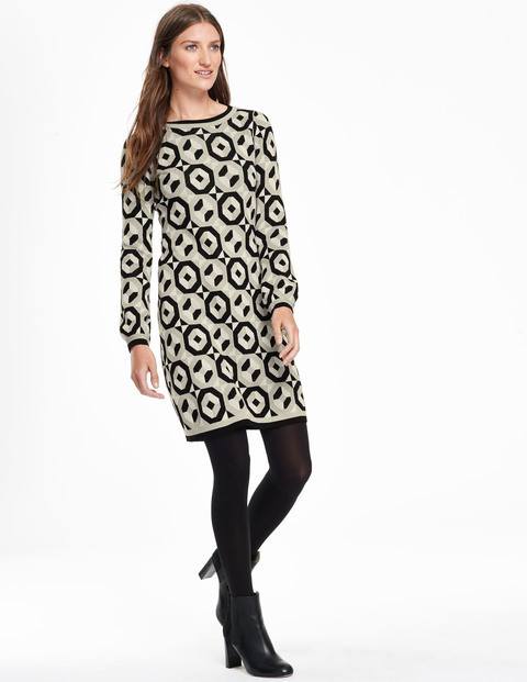 Swinging Sixties Tunic Dress Black/Silver Birch Women, Black/Silver Birch - style: shift; length: mid thigh; predominant colour: ivory/cream; secondary colour: black; occasions: casual, creative work; fit: straight cut; fibres: cotton - mix; neckline: crew; sleeve length: long sleeve; sleeve style: standard; texture group: knits/crochet; pattern type: fabric; pattern: patterned/print; season: a/w 2015